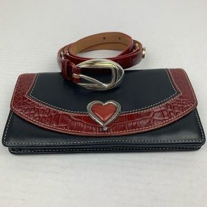 Brighton Leather Heart Wallet and Belt
